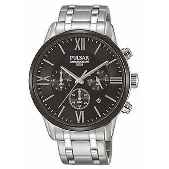 Pulsar Mens Chronograph Stainless Steel Black Dial PT3805X1 Guarda