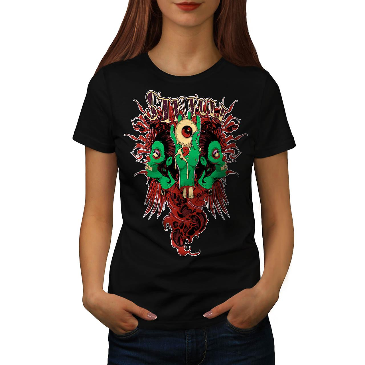 Sinful Monster Head Devil Eye Women Black T-shirt | Wellcoda
