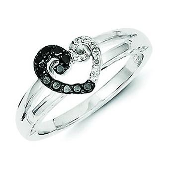 Sterling Silver White and Black Diamond Heart Ring - Ring Size: 6 to 8