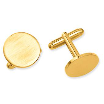Gold-plated Round Satin Cuff Links