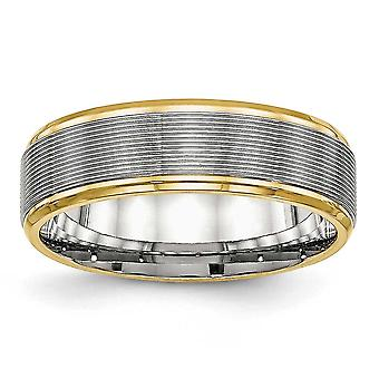 6mm Stainless Steel Polished Yellow Ip Grooved Ring - Ring Size: 6 to 13