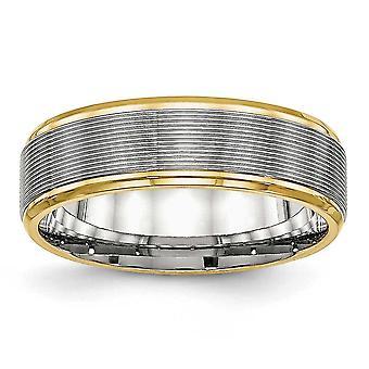 6mm rostfritt stål polerad gul Ip räfflad Ring - Ring storlek: 6 – 13