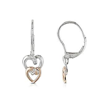 Affici Sterling Silver Heart Drop Earrings18ct White & Rose Gold Plated