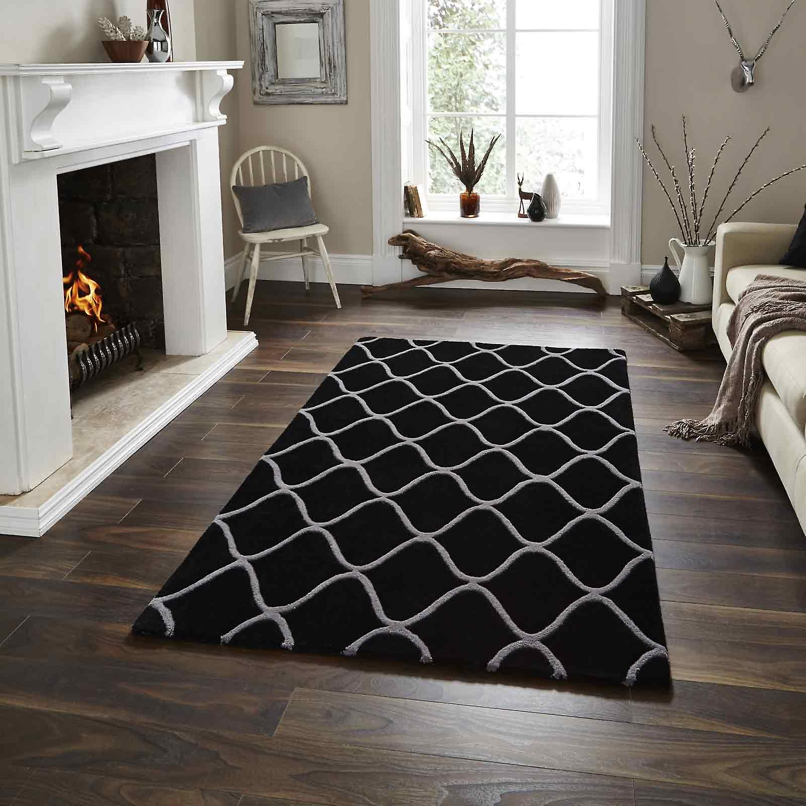 Elements Rugs El65 Hand Made Wool In Black