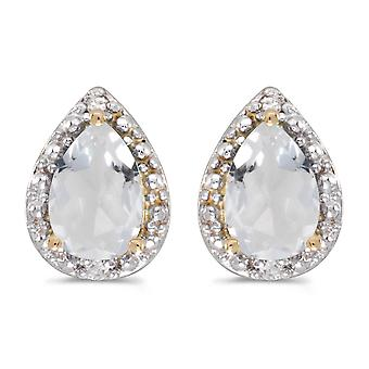 10k Yellow Gold Pear White Topaz And Diamond Earrings