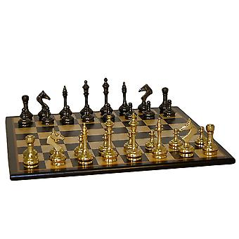 Brass Slim Men Chess Set With Black Birdseye Maple Board