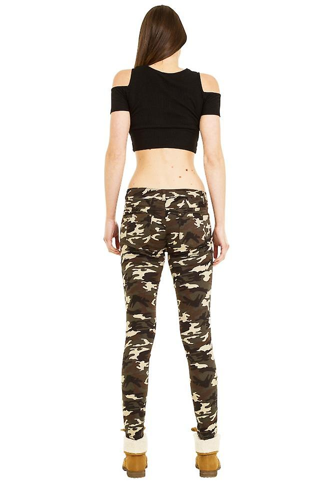 Slim Hipster Camouflage Pants - Green & Brown