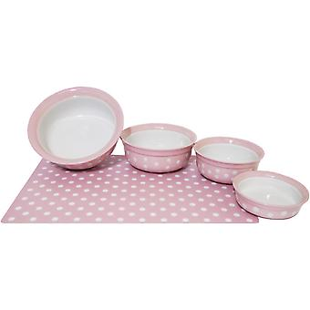 Stoneware Pet Dish Pink Polka Dot 8