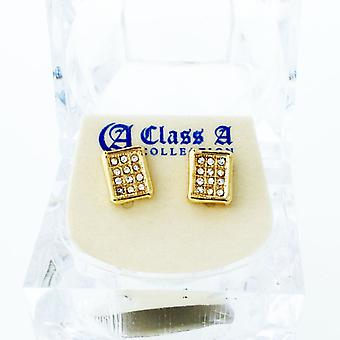 Gold bling iced out earrings - SQUAD 10 mm