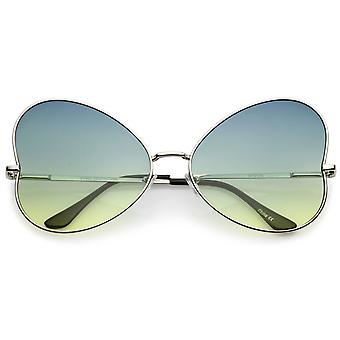Women's Oversize Ultra Slim Temple Gradient Flat Lens Butterfly Sunglasses 61mm