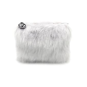 W7 Grey Fluffy/Furry Small Cosmetic Toiletry Make Up Bag