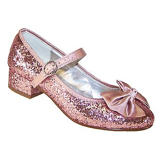 Girls pink glitter low heeled party shoes