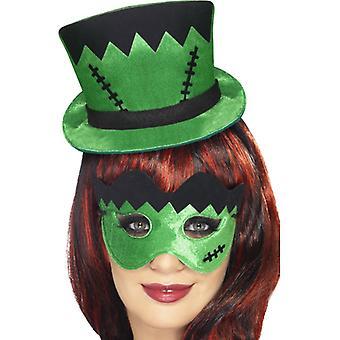 Frankie's mini hat on headband and eye mask-set green