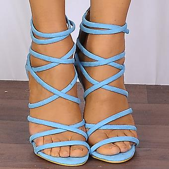 Shoe Closet Turquoise Blue Barely There Peep Toes Strappy Sandals High Heels