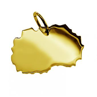 Trailer map Macedonia pendant in solid 585 gold