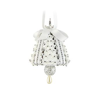 Pinflair Sequin & Pin Craft Kit - 4 Silver & White Mini Bell Christmas Ornaments