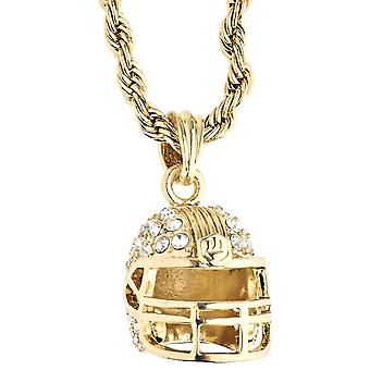 Iced Out Bling Rope Kordelkette - 3D FOOTBALL HELM gold