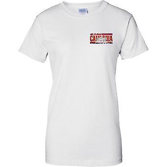 Kambodscha Grunge Land Name Flag Effect - Damen Brust Design T-Shirt