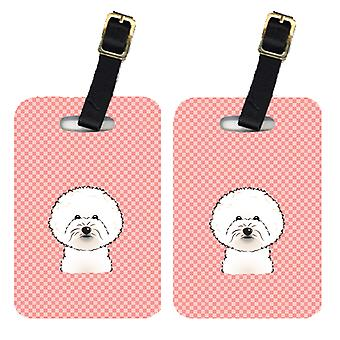 Pair of Checkerboard Pink Bichon Frise Luggage Tags