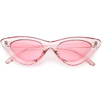 Womens overdrevet gjennomskinnelig Cat Eye solbriller farge farget linse 48mm