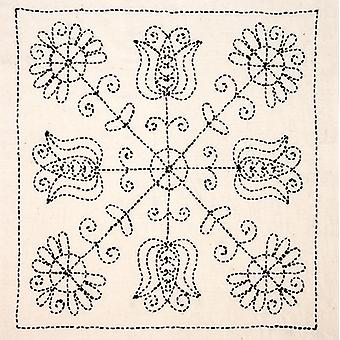 Sashiko World Hungary Stamped Embroidery Kit-Tulips And Poppies KSW-009E