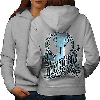 Ongelooflijk Awesome Slogan vrouwen GreyHoodie rug | Wellcoda