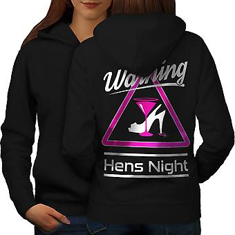 Ostrzeżenie noc kobiet BlackHoodie tyłu | Wellcoda