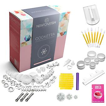Cooketta - 155 Pcs Tart Pastries Canaps Icing Cake Clay Fondant Sugarpaste Scones and Cookies Cutter and Embosser Design Set with Ideas Booklet