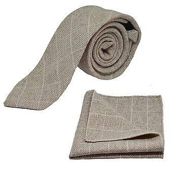 Beige Birdseye Check Tie & Pocket Square Set