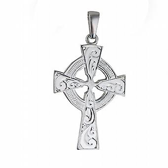 Silver 40x29mm hand engraved Celtic Cross with bail