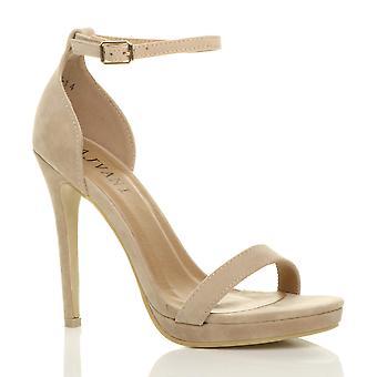 Pío de Ajvani mujeres del alto talón del dedo del pie apenas hay sandalias de hebilla de correa de tobillo
