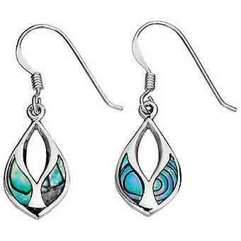 Beginnings Paua Shell Inlay Drop Earrings - Multi Colour/Silver