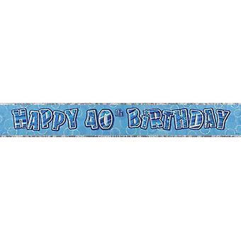 Unique Party 40th Birthday Blue Glitz Foil Banner