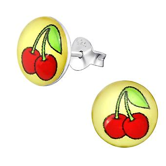 Cherry - 925 Sterling Silber farbige Ohrstecker