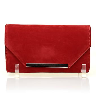 PIXIE rode Faux Suede middelgrote Clutch tas