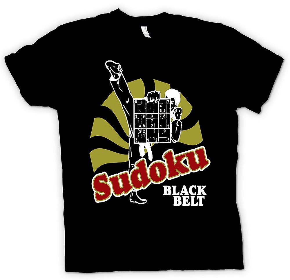 Mens T-shirt - Sudoku Black Belt Karate - Funny