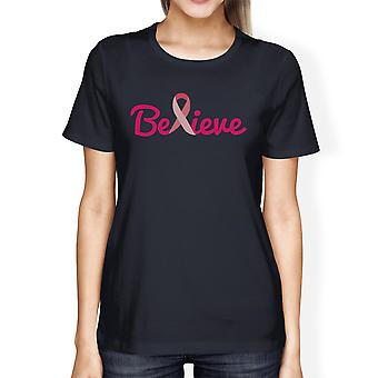 Believe Breast Cancer Womens Navy Pink Ribbon Cancer Awareness Tee