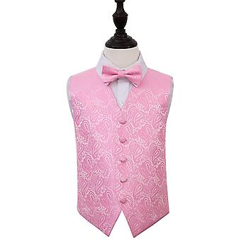 Baby Pink Paisley Wedding Waistcoat & Bow Tie Set for Boys
