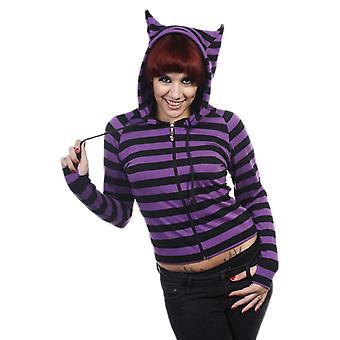 Dancing Days Black & Purple Cat Ears Striped Hoodie S