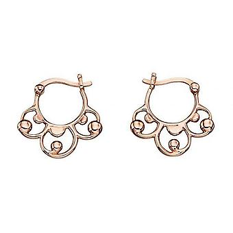 Elements Gold Baroque Creole Earrings - Rose Gold