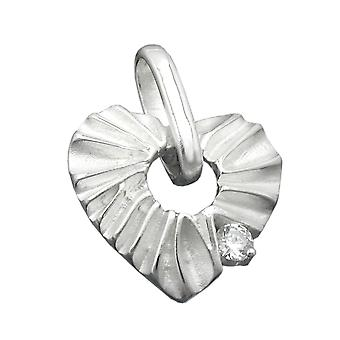 An extravagant heart pendant charms, heart with cubic zirconia matte shiny Silver 925