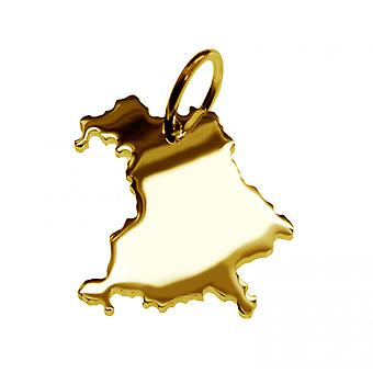 Trailer map Bavaria pendants in massive 585 yellow gold