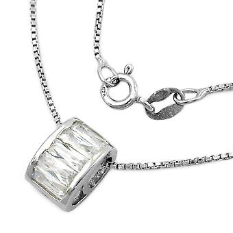 Silver Venetian chain cubic zirconia pendant on rhodium plated 925 42 cm silver