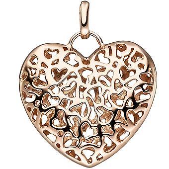 Ciondolo cuore 925 argento rosa placcato oro cuore ciondolo mat + lucido pagina
