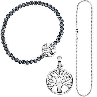 Biżuteria Ustaw drzewo życia drzewo świata drzewo 925 Srebrny wisiorek bransoletka łańcuch 42 cm