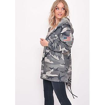 Oversized Camo Hooded Parka Jacket Coat Grey