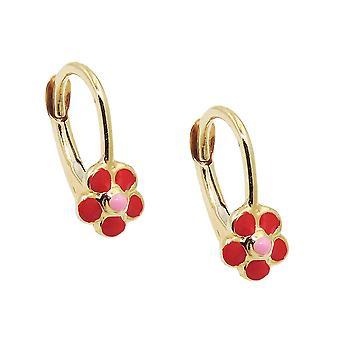 Brisur 12x6mm earring flower red-pink-enamelled 9Kt GOLD