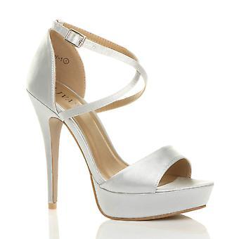 Ajvani dame høj hæl krydse over strappy brude bryllup brudepige platform sandaler peep toe sko