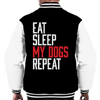 Eat Sleep My Dogs Repeat Men's Varsity Jacket