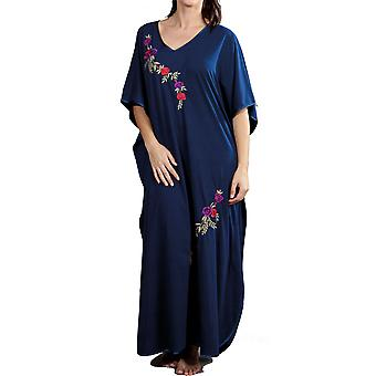 Ladies One Size Kaftans Floral Embroidered Satin Edging Full Length 9987